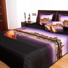 fialovy prehoz velkomesto Bed, Furniture, Home Decor, Decoration Home, Stream Bed, Room Decor, Home Furnishings, Beds, Home Interior Design