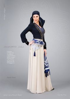 """""""The first garment"""" – For popularization of Georgian traditional """"chokha."""" Collection presented by the Georgian National Ballet ensemble, Sukhishvilebi, Erisioni and Rustavi dancers. Dresses below are by Samoseli Pirveli. Folk Fashion, Hijab Fashion, Folk Costume, Costumes, Hijab Stile, Georgian, Costume Design, Traditional Outfits, Style Inspiration"""