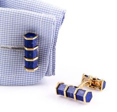 Blue lapis and 18K yellow gold cufflinks by Neiman Marcus