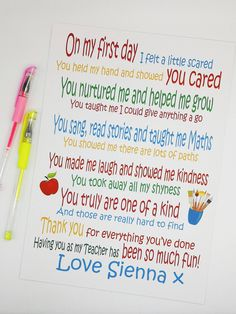 Thank you print. Teacher thank you poem. End of year gift. - A colourful personalised Teacher/TA/keyworker gift. Personalised thank you Teacher poem. Easy Teacher Gifts, Teachers Day Gifts, Thank You Teacher Gifts, Presents For Teachers, Personalized Teacher Gifts, Thank You Poems For Teachers, Teacher Poems, Thanks Teacher, Teacher Cards