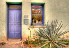 Historic El Barrio neighborhood in Tucson, Arizona with row after row of charming and colorful adobe houses built in the 1800s - since restored.