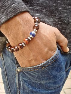 Men's Spiritual Healing, Protection, Good Fortune, Friendship Bracelet - Semi Precious Red Tiger's Eye, Tibetan Lapis Lazuli Silver Capped by tocijewelry on Etsy