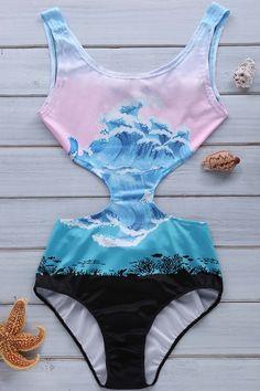 Wave Print Jewel Neck One-Piece Swimwear - COLORMIX XL