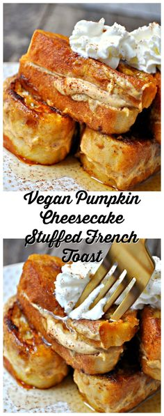 Vegan Pumpkin Cheesecake Stuffed French Toast This vegan stuffed french toast is filled with a pumpkin cheesecake filling and dipped in a pumpkin custard! Refined sugar free and extraordinary! Vegan Treats, Vegan Foods, Vegan Dishes, Vegan Fast Food, Fromage Vegan, Vegan French Toast, Pumpkin French Toast, Breakfast And Brunch, Breakfast Casserole