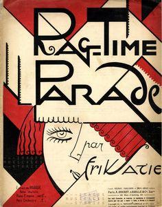 'Rag-Time Parade', composed by Erik Satie (Rouart, Lerolle & Cie, Paris, Old Sheet Music, Vintage Sheet Music, Vintage Sheets, Piano Sheet, Art Deco Posters, Vintage Posters, Illustrations, Illustration Art, Cover Design