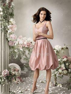 Robe demoiselle d`honneur Rose Mi-longue en Taffetas V col Petit Sans manches€64.99