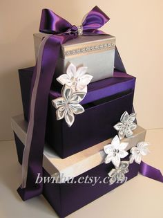 Wedding Card Box Gift Card Box Money Box  Holder--Purple and Silver or Customize your color