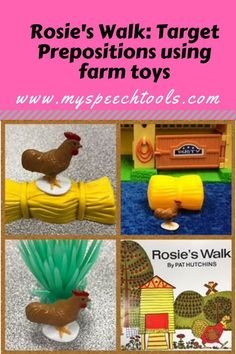"Target Prepositions using Rosie's Walk and farm toys;speech therapy book unit targets vocabulary, basic concepts, cause and effect. Also provides a game for speech therapy with comprehension questions and farm activities. ""Rosie's Walk"" is a great book fo Special Education Activities, Farm Activities, Language Activities, Preschool Ideas, Speech Therapy Activities, Speech Language Therapy, Speech And Language, Teaching Aids, Teaching Resources"