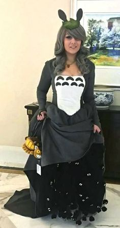 Totoro ballgown by Iris, with Catbus purse & FABULOUS soot sprite underskirt! The best outfit ever.