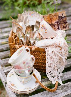 Vintage Floral China and Flatware in Picnic Basket - Elizabeth Anne Designs