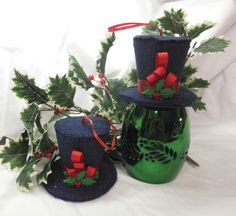 Mini Top Hat Christmas Ornaments Set of 2 by QuiltingFrenzy, $12.00