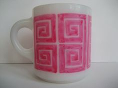 Milk Glass mug with Square Spiral by BInYourBonnet on Etsy, $7.00
