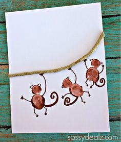 "Fingerprint Monkey Card Idea ""I Love Hangin' With You"" - Sassy Dealz"