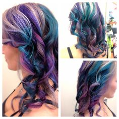 My client is bold and loves color! Here we used pravana colors: Green, Wild Orchid, and Purple. I was super excited about the results!! :)
