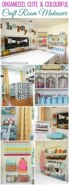 I love this craft room makeover it is so cute and colourful and full of great thrifty ideas for getting organized at thehappyhousie.com