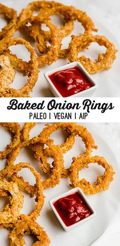 These baked onion rings are the real deal! They're paleo, AIP & even egg free and vegan-friendly. These crispy baked onion rings are the real deal! They're paleo, AIP compliant, nut free and even egg free and vegan-friendly. Paleo Vegan, Paleo Snack, Vegetarian, Paleo Diet, Paleo Food, Paleo Breakfast, Paleo Pizza, Paleo Bread, Paleo Dessert