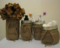Primitive Bathroom Decor, Mason Jar Bathroom Set, Primitive Country Bathroom  Decor, Country Bath Decor, Country Bathroom, Brown, Burgundy