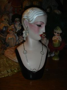 Art Deco Mannequin Head Hat Jewelry Display.