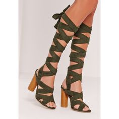 917536b8ec9 Missguided Strappy Wrap Around Block Heel Sandal ( 64) ❤ liked on Polyvore  featuring shoes. Lace Up ...