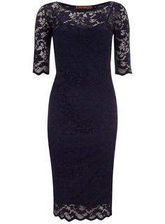 Jolie Moi Navy 3/4 Sleeve Lace Dress - какво ще кажеш за дантелен ръкаф? :)