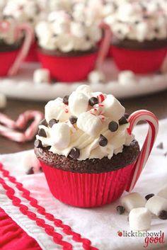 Cupcake Recipes Hot Cocoa Cupcakes Recipe from Lick The Bowl Good.Hot Cocoa Cupcakes Recipe from Lick The Bowl Good. Holiday Desserts, Holiday Baking, Holiday Treats, Just Desserts, Holiday Recipes, Delicious Desserts, Holiday Cupcakes, Christmas Recipes, Snowman Cupcakes