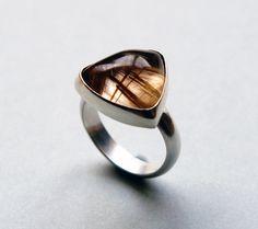 Golden Rutile Quartz Ring. Set in sterling silver. Handmade by Reshma Tia Champaneria