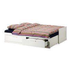 BRIMNES Sovesofa 2 skuffer/2 madrasser - hvid/Malfors medium - IKEA