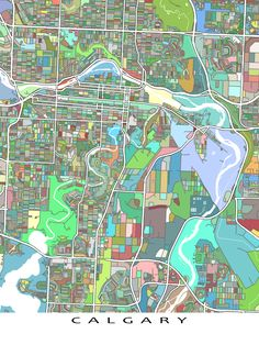 Hang a bit of Calgary Alberta, Canada on your wall with this Calgary map print…