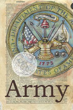Druck: Army Emblem Gemischte Medien Zeichnung auf antike Wörterbuch