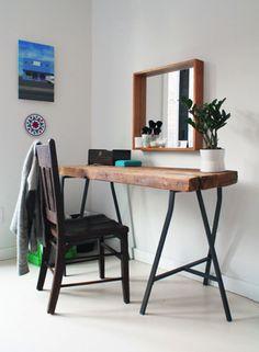 Simple rustic workspace - I never get tired of that mirror. #desk #vanity #diy #simple