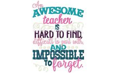 An Awesome Teacher is Hard To Find, Teacher Appreciation 5x7 Machine Applique Embroidery Design pes jef xxx vip vp3 pec dst hus pattern by HoopMamaEmbroidery on Etsy https://www.etsy.com/listing/234269060/an-awesome-teacher-is-hard-to-find