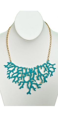 Coral Tree Necklace in Teal