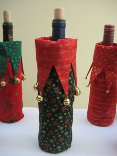 Christmas wine bottle cover with jingle bells by MissSnowberry, $15.00