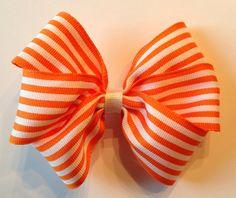 Halloween Hairbow Orange and White Striped on Etsy, $3.99