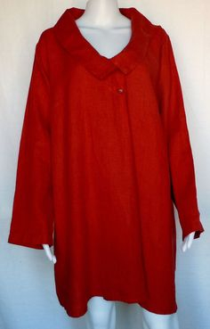 FLAX NEUTRAL TWO Tunic Blouse, Paprika Linen, 1G (1X), NWOT #Flax #Tunic #Casual