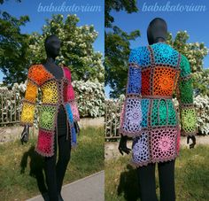 Crochet Cardigan - Lacy Granny Square With Flower Center by babukatorium
