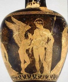 Greek Mythology: Himeros (or Himerus) was the god of sexual desire, one of the young Erotes (winged Love-Gods). Greek And Roman Mythology, Greek Gods, Ancient Greek Art, Ancient Greece, Greek History, Ancient History, Greece Art, Hellenistic Period, Greek Pottery