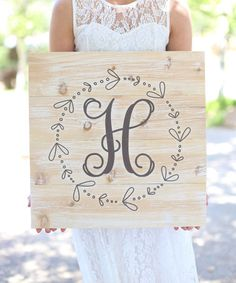 Look what I found on #zulily! White & Brown Rustic Wood Initial Personalized Wall Sign #zulilyfinds