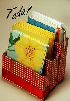 TADA! A dainty desk organizer!   Use it for invitations & greeting cards.