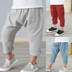 2-7 años de lino plisado los pantalones de los niños 2017 muchachas del verano muchachos pantalones de los niños del tobillo de longitud pantalones harem pantalones baby boy girl ropa