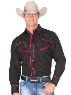 33150 Camisa Vaquera Caballero El Senor De Los Cielos, 65% Polyester 35%Cotton - Black