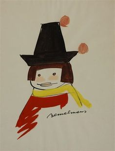 Artwork by Ludwig Bemelmans, Study for Madeline and the Bad Hat, Made of Ink and gouache on paper
