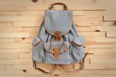 fabric and handle Gillet suede backpack