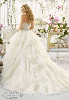 Ball Gown Wedding Dresses : Wedding Dress 2815 Intricate Crystal Beaded and Embroidered Bodice onto a Flounc