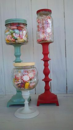 diy candy jars - these are cool to make for a fun party or a fun gift for your favorite kid! Take a jar and a candle stick, paint, glue, candy = cool fun ; Dollar Store Crafts, Crafts To Sell, Fun Crafts, Diy And Crafts, Upcycled Crafts, Mason Jar Crafts, Mason Jars, Diy Jars, Glass Candlesticks