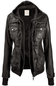 Lock and Love Women's Hooded Faux Leather Jacket