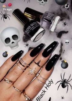 Set Of Painted Long Coffin Glossy Black Nails