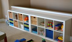 Furniture: White Rectangular Storage For Toy Place with Wicker Rattan Baskets and White Joy Carpet Tile in Spacious Kids Room Decorations