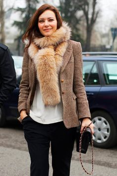 the jacket and fur scarves