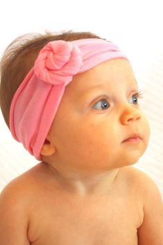 Jersey Twist Flower Baby Girl Headband - Rosette - gray - baby girl headband -pink - purple - white - jersey knit - tie knot - stretchy :FLT on Etsy, $8.95